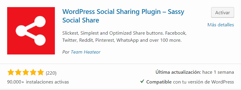 Plugin Sassy social Share para WordPress