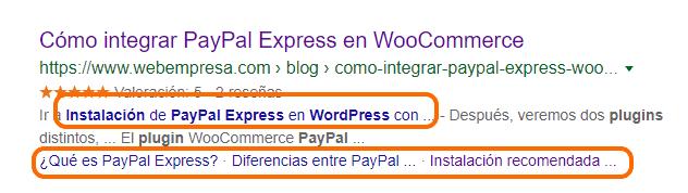 Acceso directo a enlaces de tablas de contenidos en buscadores