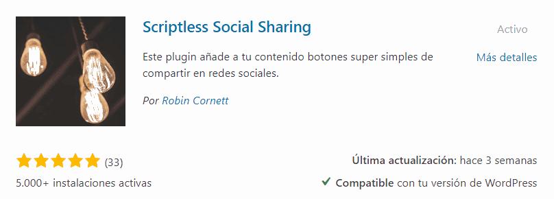 Plugin Scriptless social Sharing para WordPress
