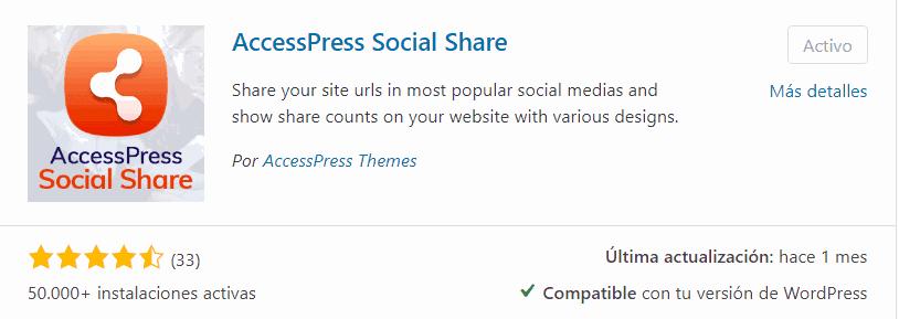 Plugin Accesspress Social Share para WordPress