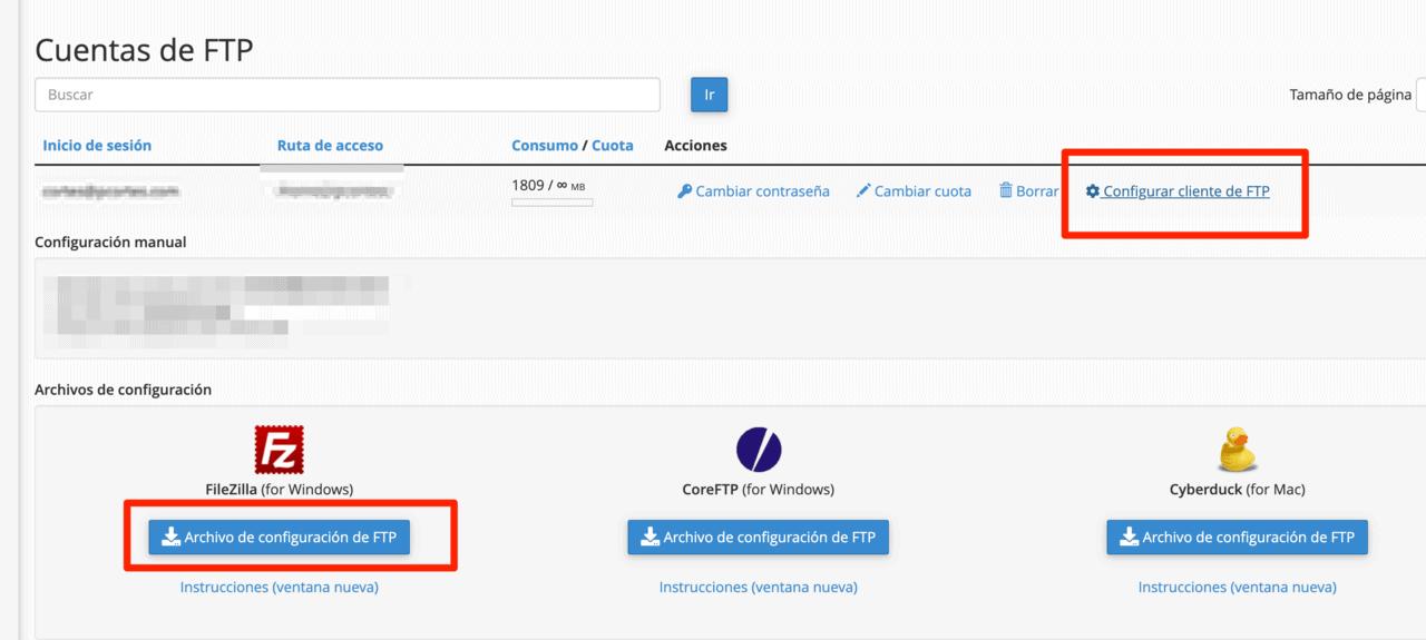 Pantallazo cuentas FTP