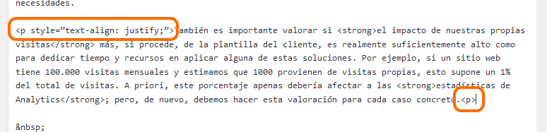 Justificar párrafo etiquetas HTML