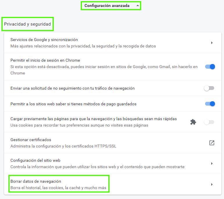 Borrar Caché del ordenador Chrome