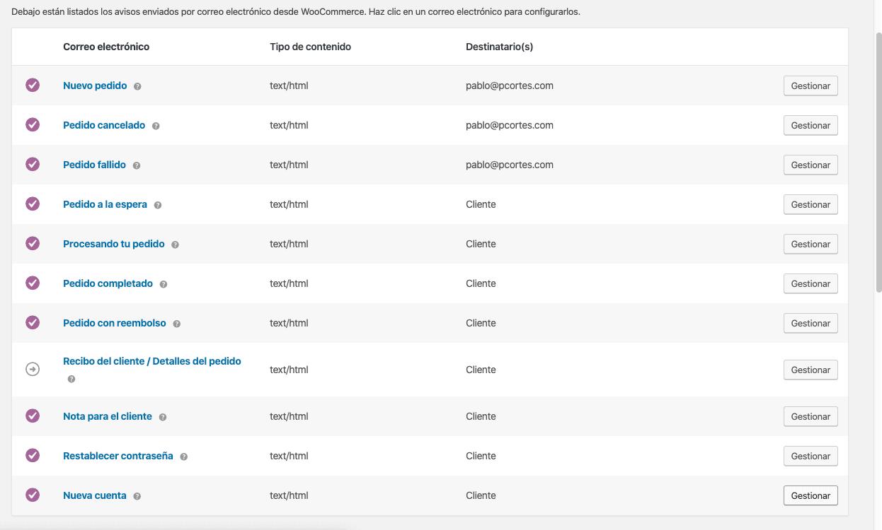 Configuración de notificaciones de correo electrónico WooCommerce