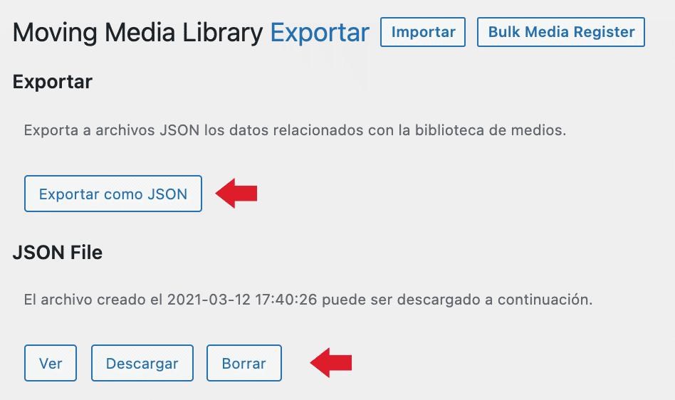 exportar arhivo json imagenes