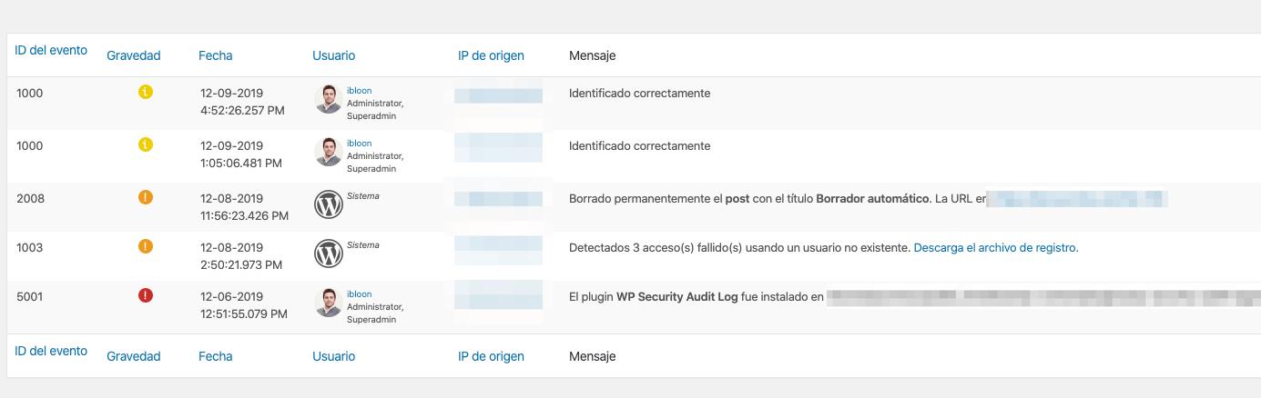 Visor del registro de auditoría del plugin WP Security Audit Log