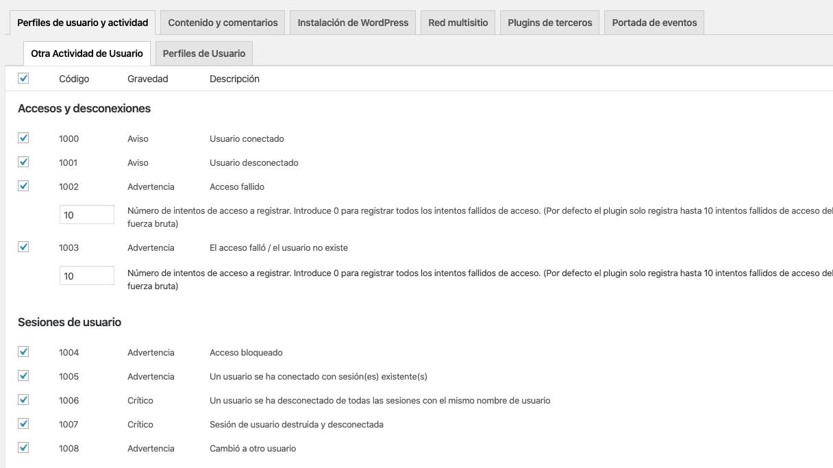 Revisar qué elementos aparecerán en el LO del plugin WP Security Audit Log