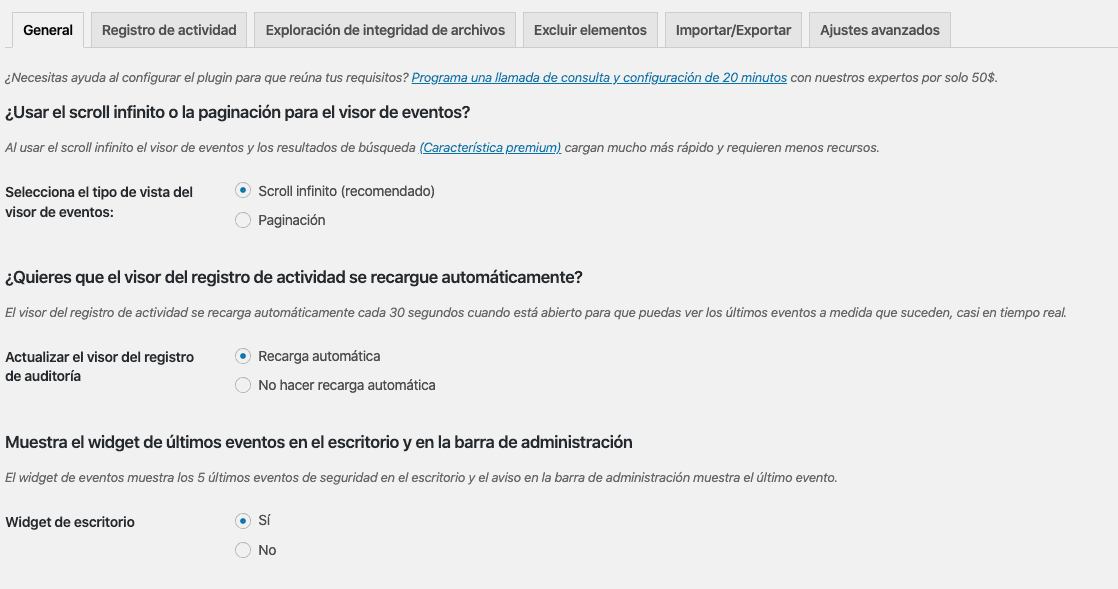 Revisar los ajustes del plugin WP Security Audit Log