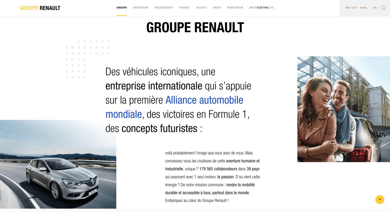 Web corporativa popular Renault