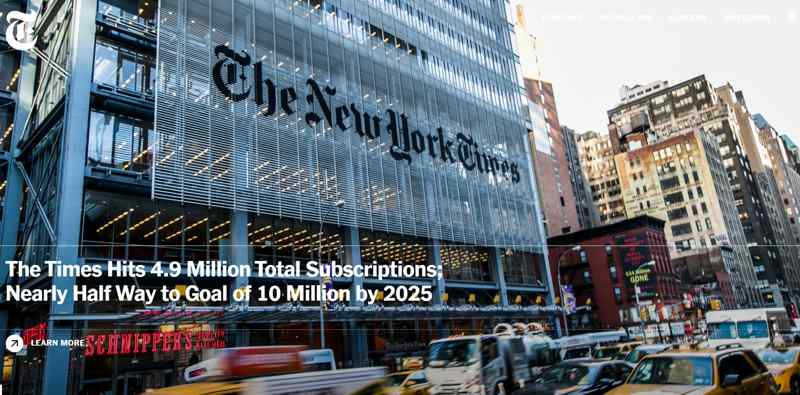 Web ejemplo New York Times periódico