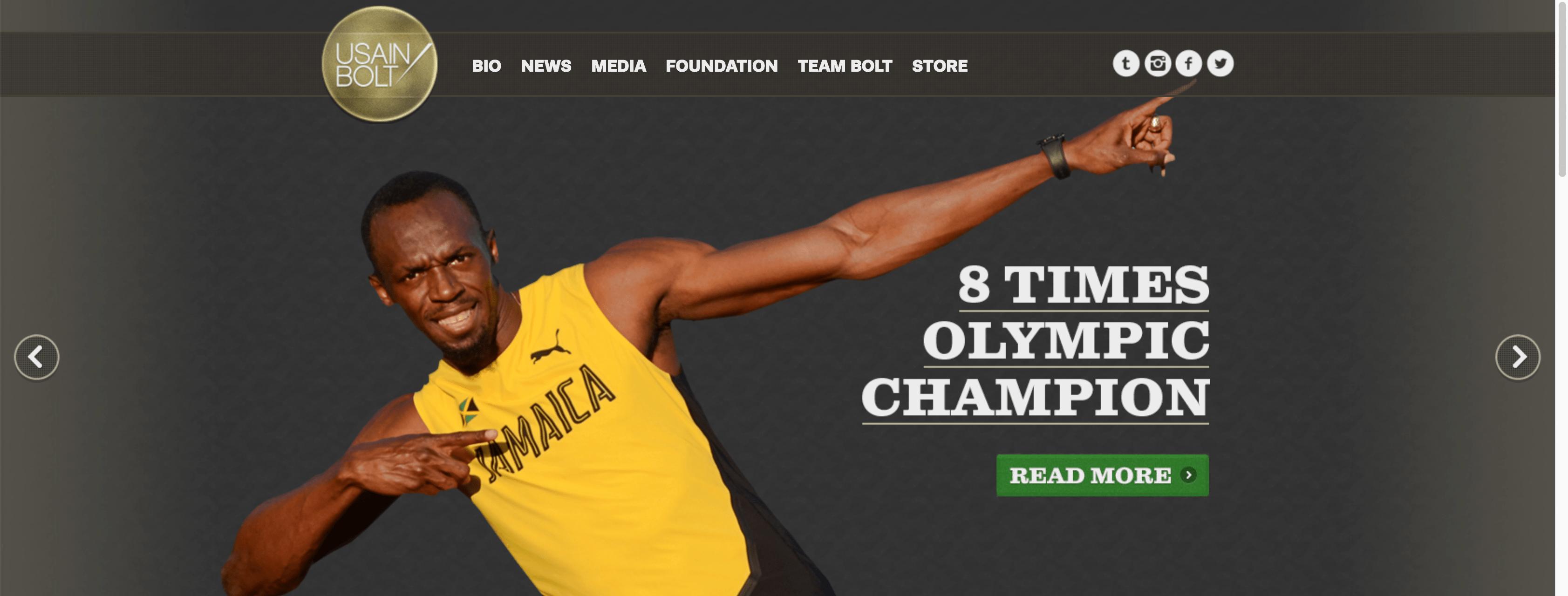 Web personal popular ejemplo Usain Bolt