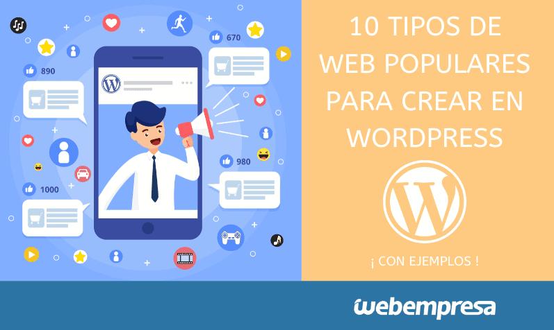 10 tipos de Web populares que puedes crear con WordPress