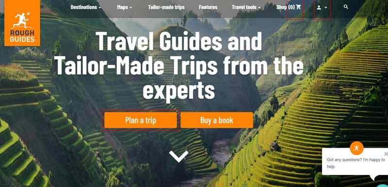 Web ejemplo viajes Roughguides