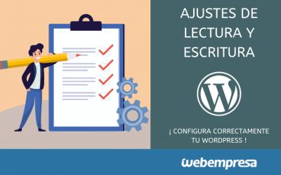Ajustes de lectura y escritura en WordPress