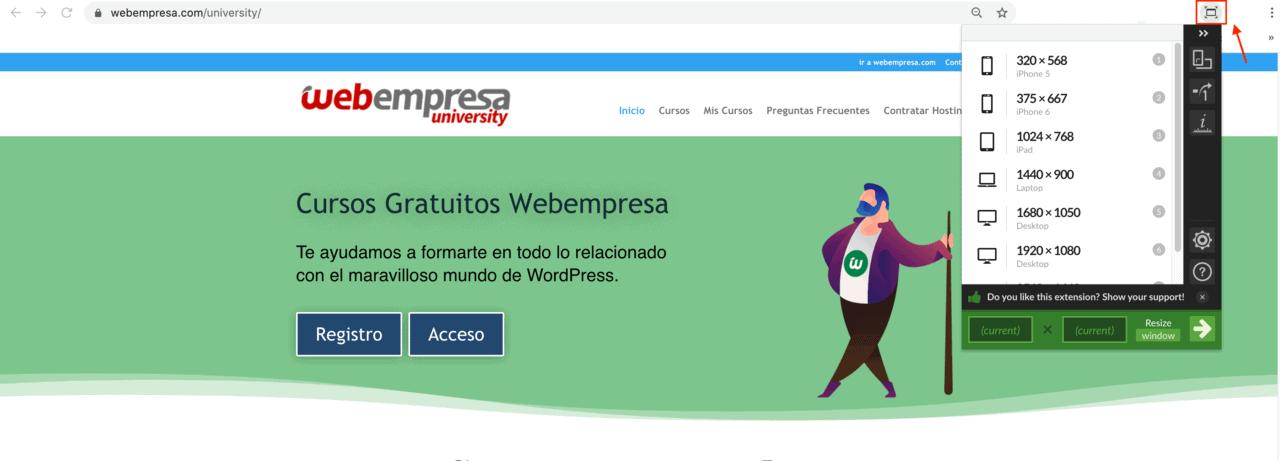 Herramientas responsive móvil Extensión de Chrome Windows Resizer