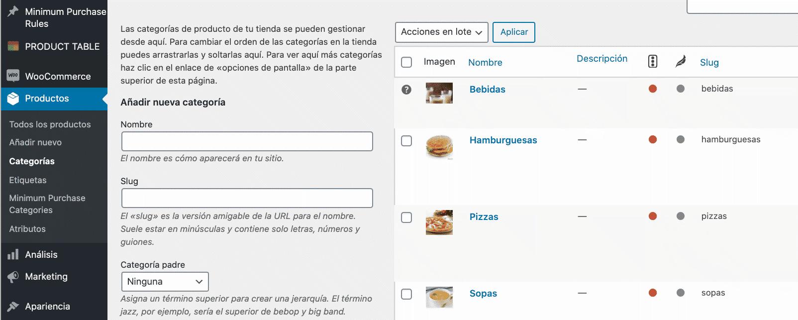 Lista categorías de productos