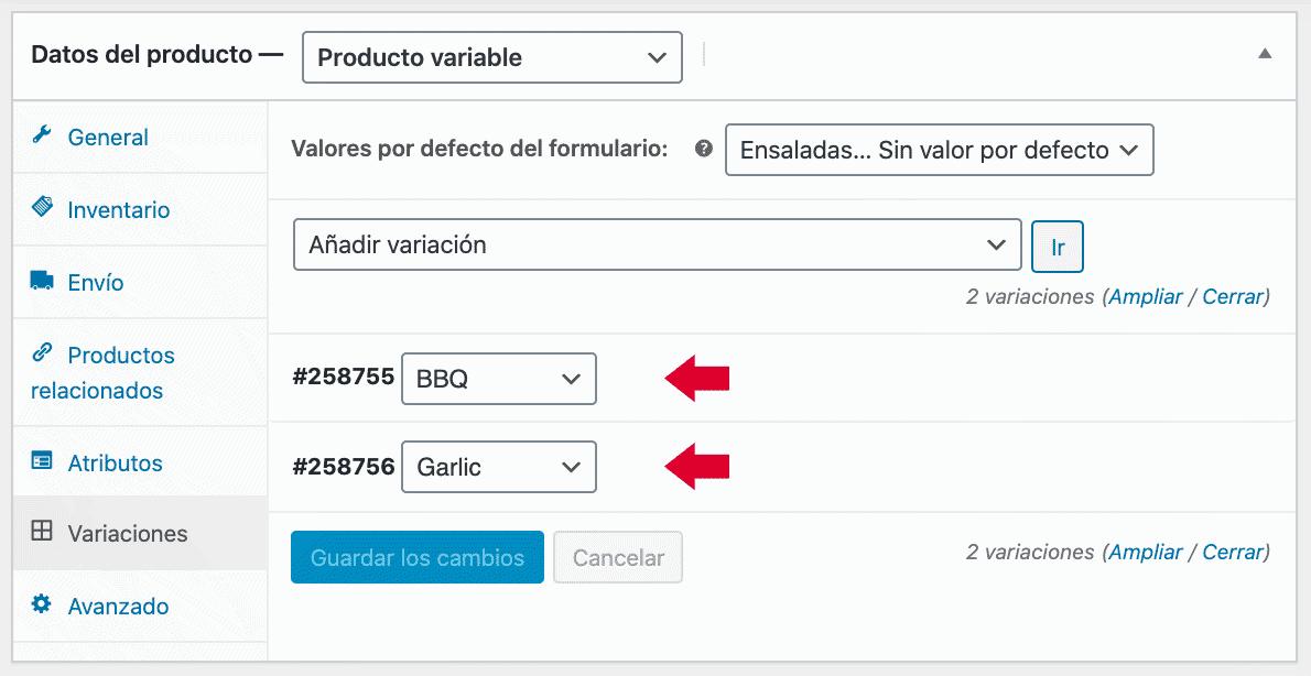 creación producto variable variaciones