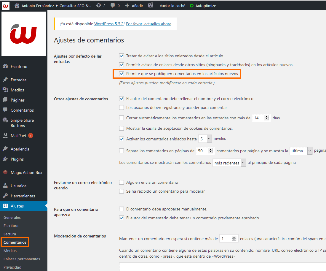 Activar comentarios WordPress