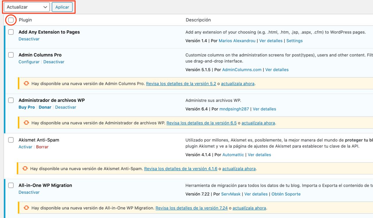 actualizar plugins wordpress