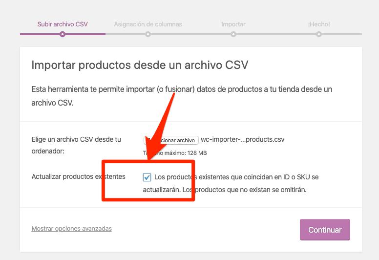 Casilla específica importación de productos WooCommerce