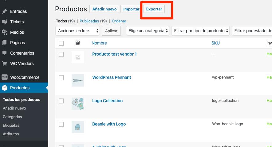 Exportación de productos WooCommerce