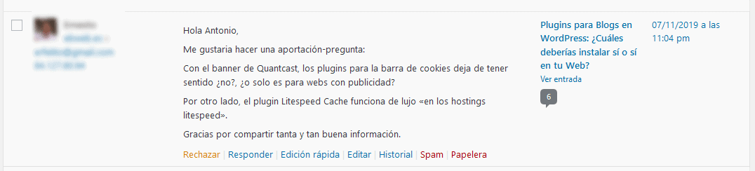 Moderar comentarios WordPress
