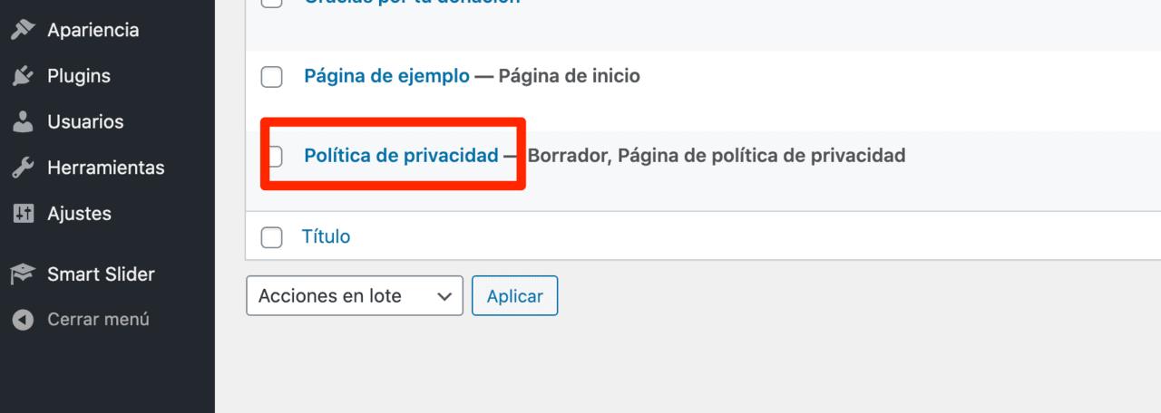 Página por defecto política de privacidad
