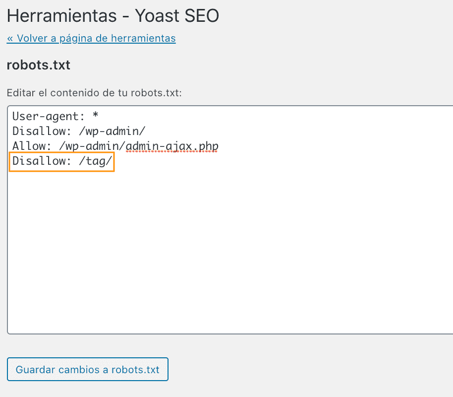 Añadir fila Robots-txt