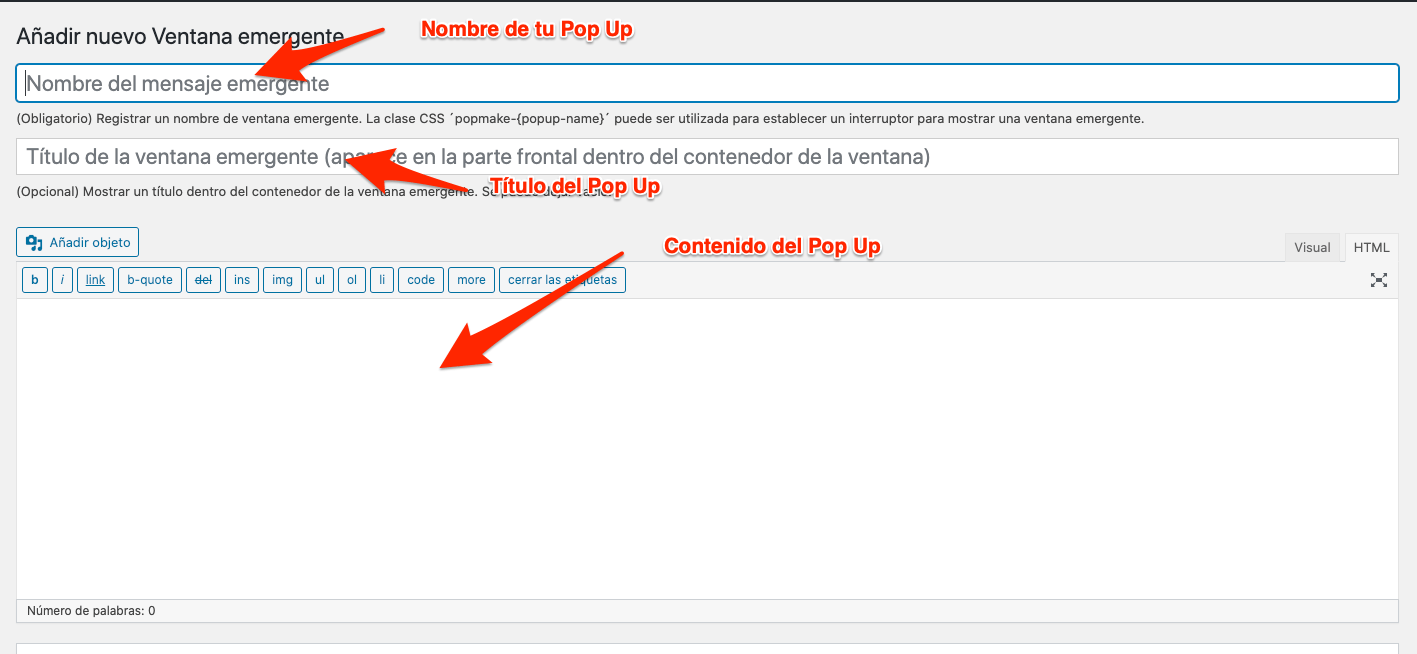 Paso 3 plugin Popup Maker