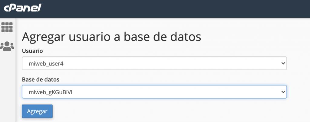 Asignar usuario y carpeta base de datos