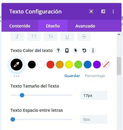 Configurar texto Divi Builder