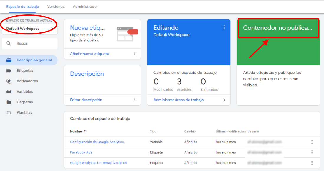 Contenedor no publicado Google Tag Manager