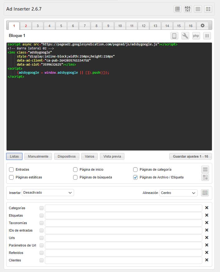 Insertar Google Adsense en WordPress. Insertar anuncios de Google Adsense con el plugin Ad Inserter