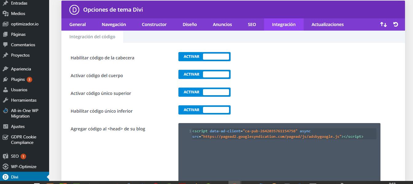 Insertar Google Adsense en WordPress. Insertar código HTML Adsense en DIVI