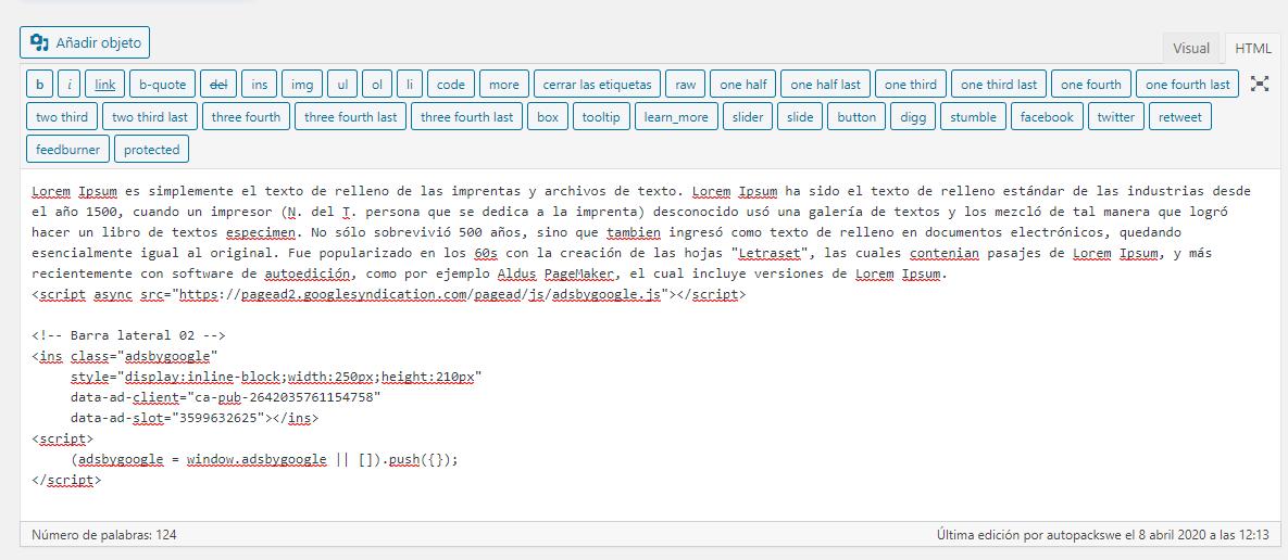 Insertar Google Adsense en WordPress. Insertar código HTML Adsense en las entradas