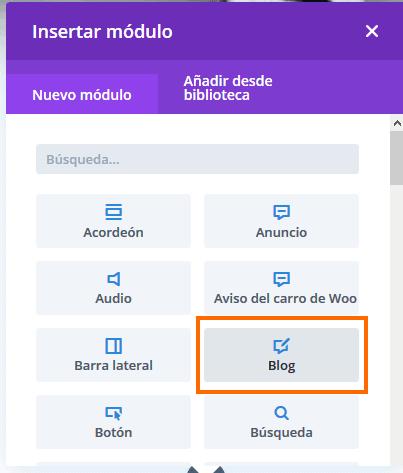 Insertar módulo blog Divi Builder