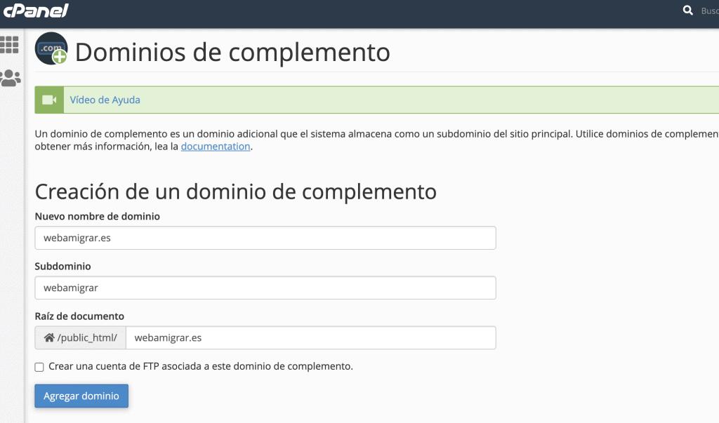 Nombre de dominio WordPress a migrar