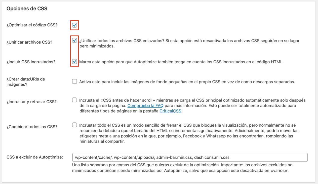 Opciones CSS Plugin Autoptimize
