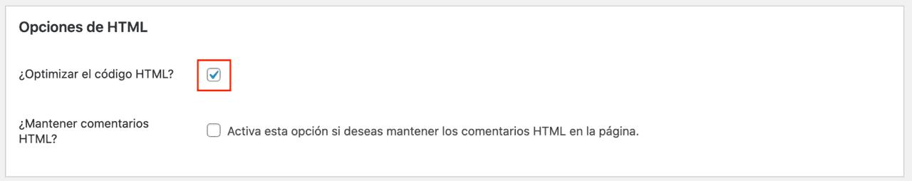 Opciones HTML Plugin Autoptimize