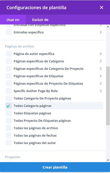Plantilla página Categoría Theme Builder Divi