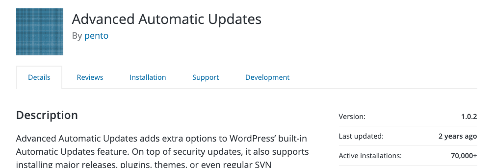Plugin Advanced automatic updates
