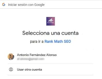 Seleccionar cuentas Search Console Rank Math