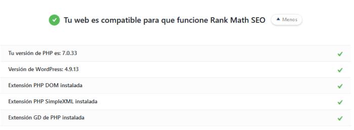 Web compatible con Rank Math