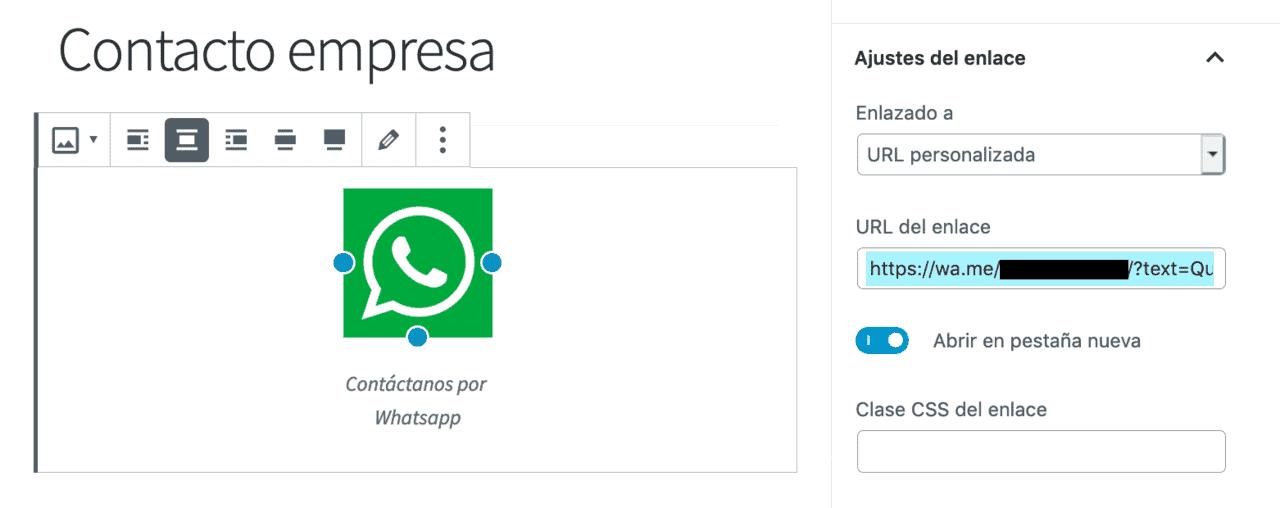 Creación enlace con imagen Whatsapp en Gutenberg