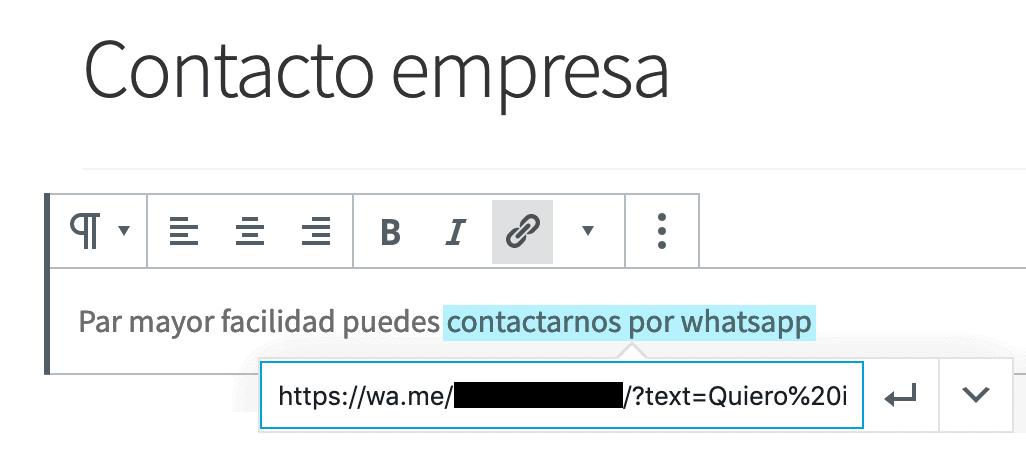 Creación de enlace Whatsapp con Gutenberg