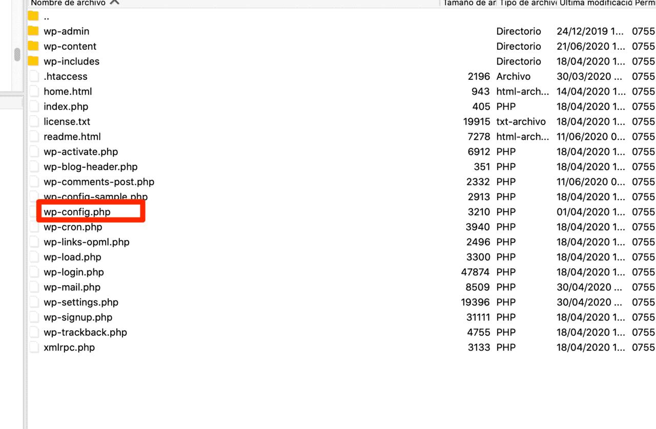 Paso 5 - Carpeta WP Config - Error 503