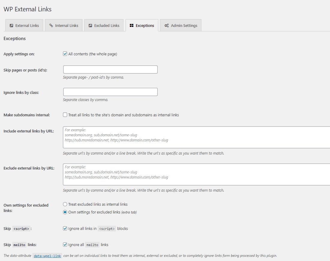 Plugin External Links Exceptions