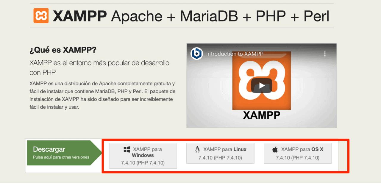 Descargar XAMPP en la página oficial