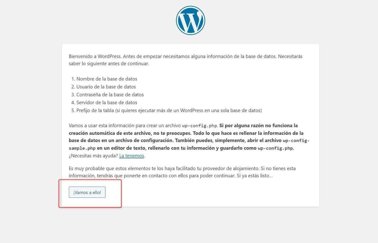 Empezar a configurar WordPress