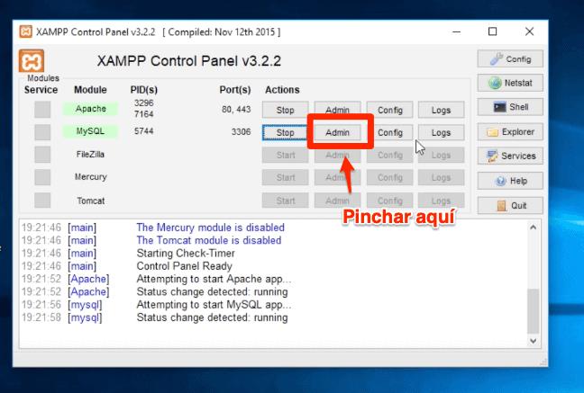 Admin panel de control Xampp